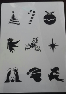 2 x Christmas face painting stencil sheets  tree pudding angel